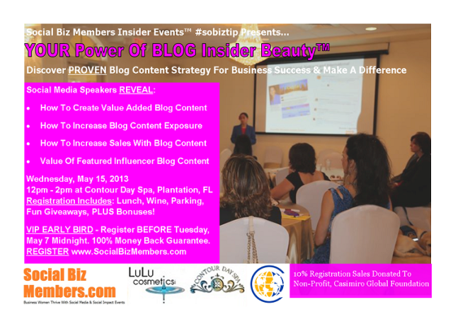Social Biz Members Insider Events Your Power Of BLOG Insider Beauty - May-Early Bird2-sm