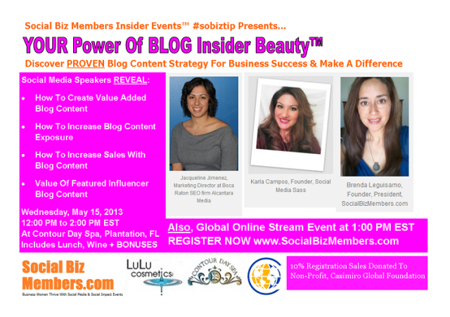 Social Biz Members Insider Events Your Power Of BLOG Insider Beauty - May-Early Bird3sm