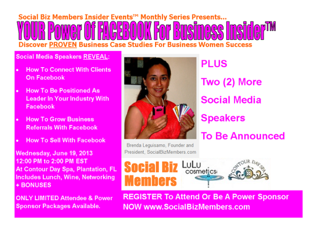 Social Biz Members Insider Events Your Power Of FACEBOK For Business Insider - June-sm