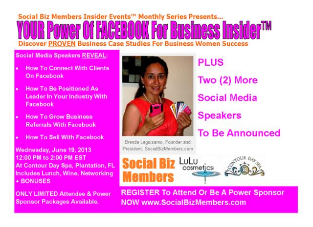 Social Biz Members Insider Events Your Power Of FACEBOK For Business Insider - June-sm