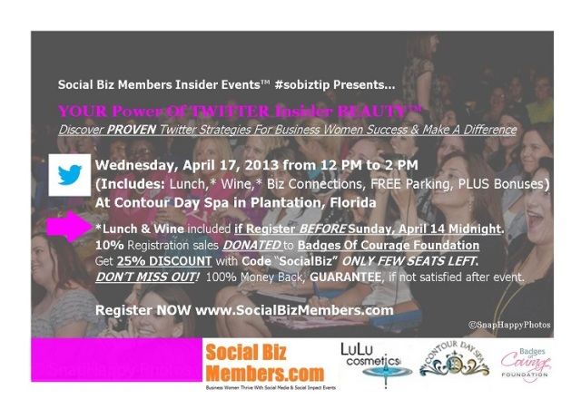 Social Biz Members Insider Events Your Power Of Twitter Insider Beauty - Flyer-final1SM